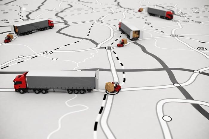 fleet unloading goods on a map